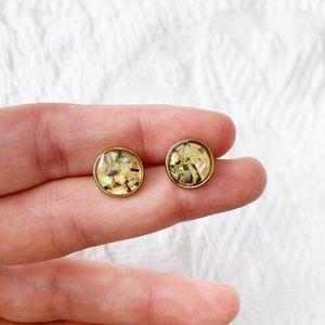 minimalist 'tigers eye' epoxy sparkle dot earrings